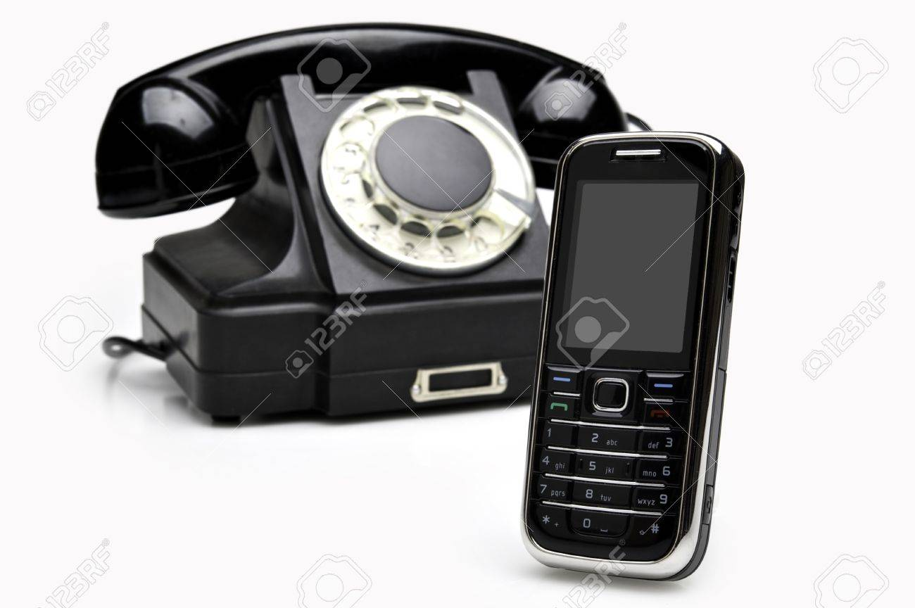 Retro classics and modern cellular phones isolated over white background Stock Photo - 10126775