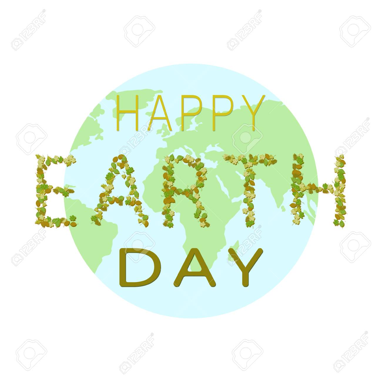 Earth day with map earth and letters from the leaves of trees earth day with map earth and letters from the leaves of trees vector illustration gumiabroncs Images
