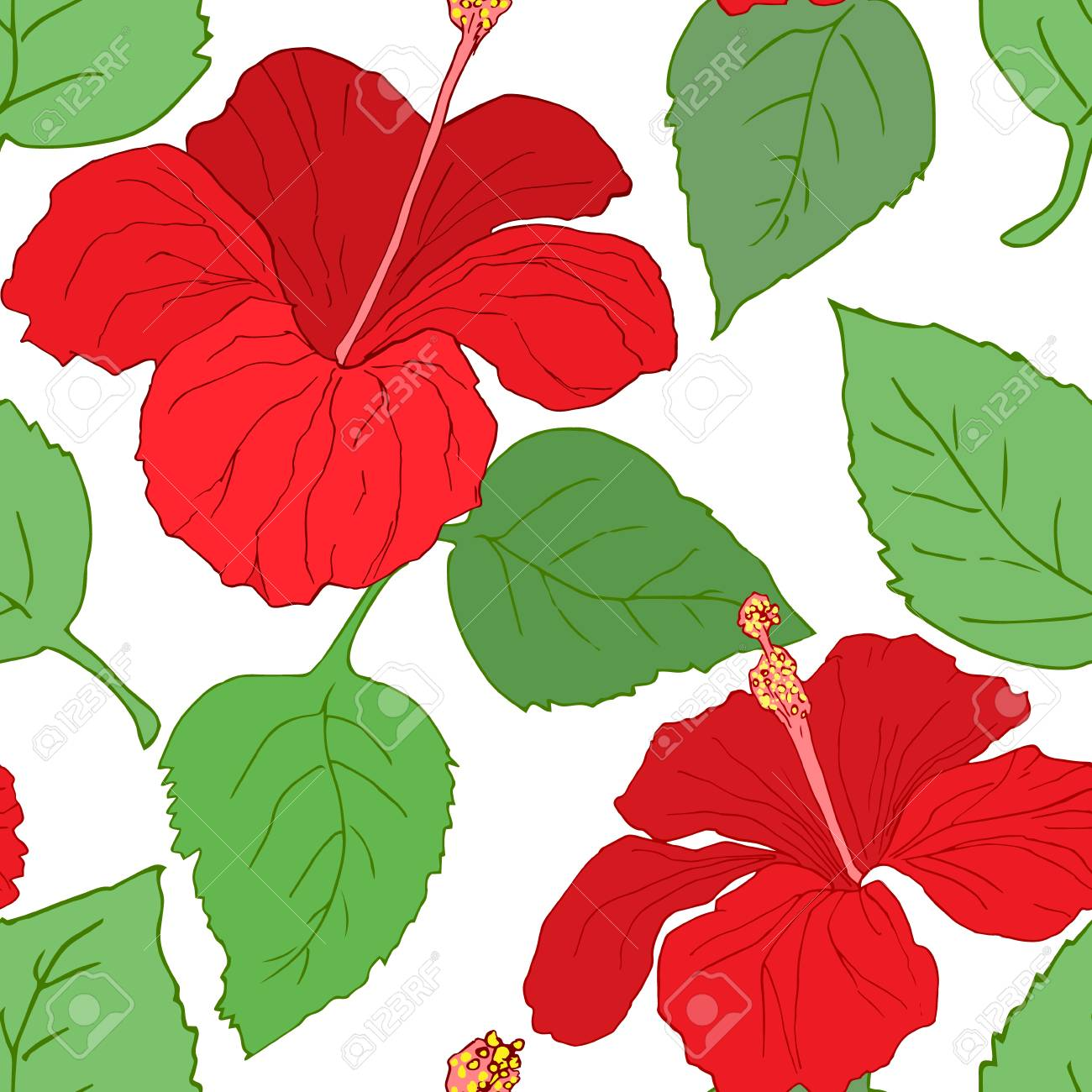 Seamless Pattern With Flowers And Hibiscus Leaves Perfect For