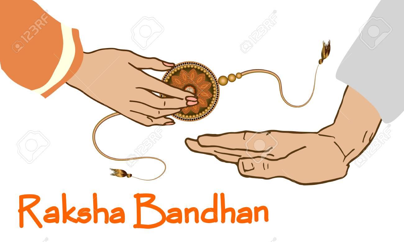 Raksha Bandhan Festival Greeting Card Template. Beautiful background with illustration of rakhi. Design Vector Illustration - 106505311