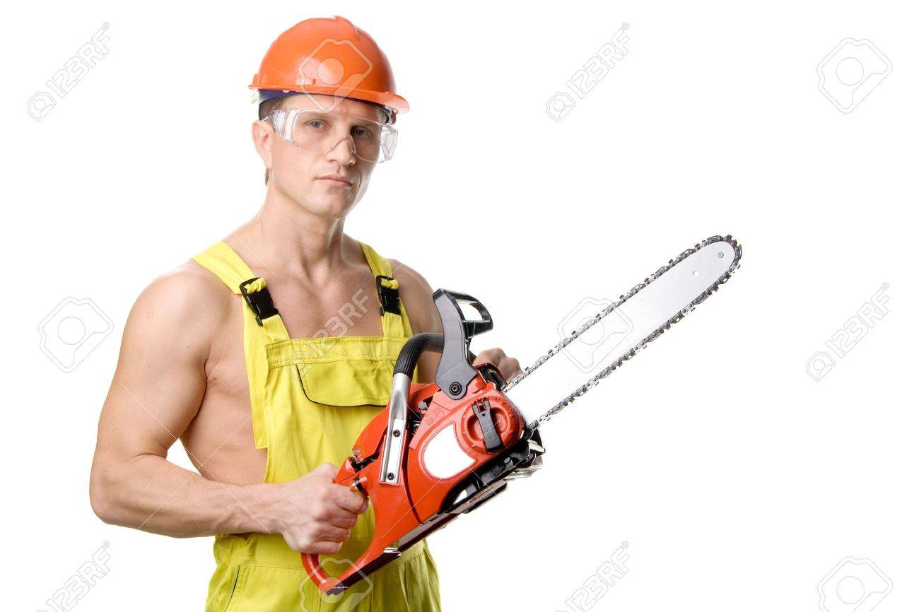 A sexy muscular man with chain-saw, isolated on white Stock Photo - 772222