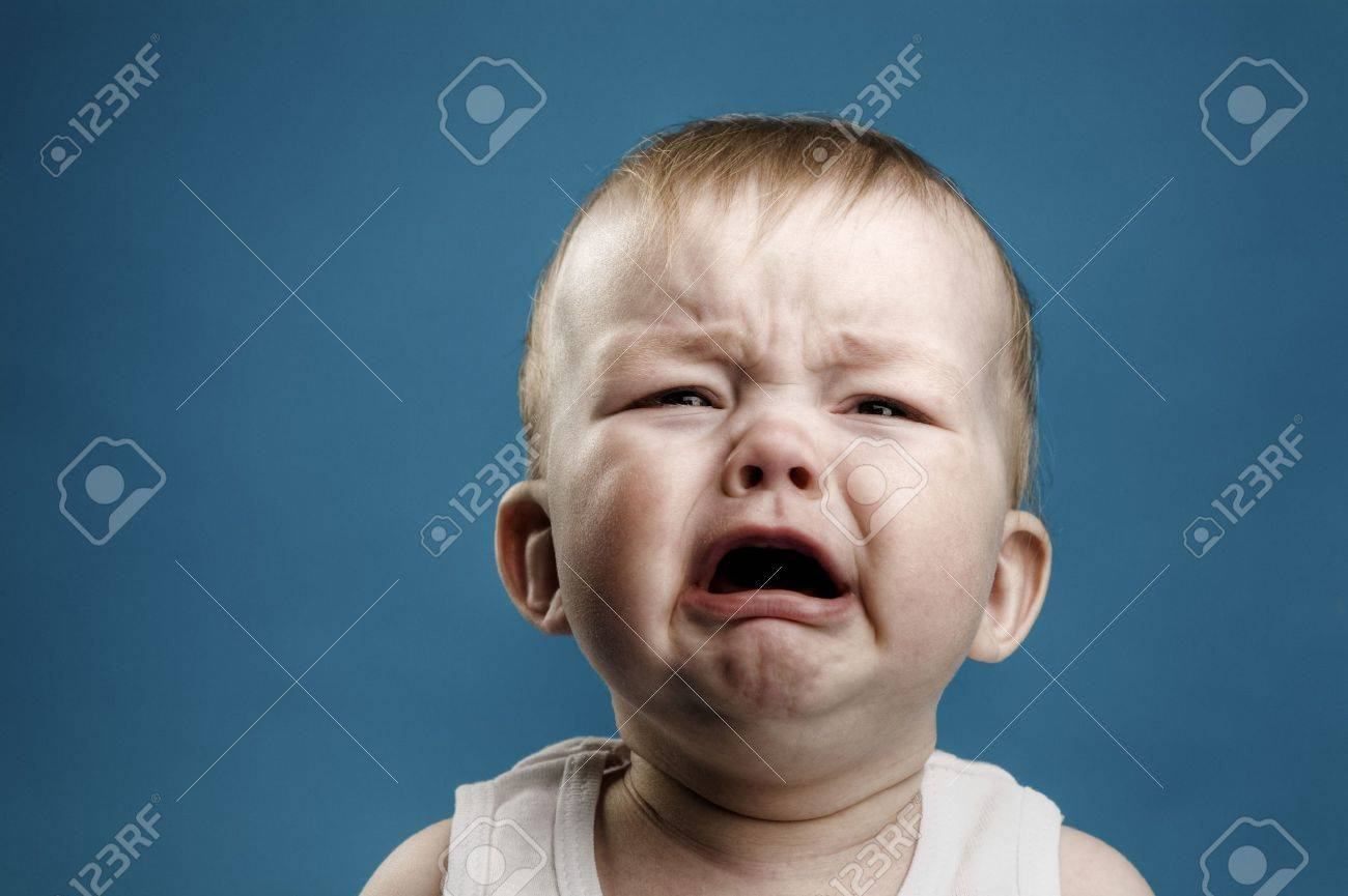 of nine month baby crying, isolated - 5226742