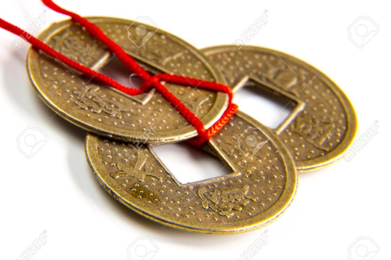 Chinesische Feng Shui Glück Münzen Makroaufnahme Lizenzfreie Fotos