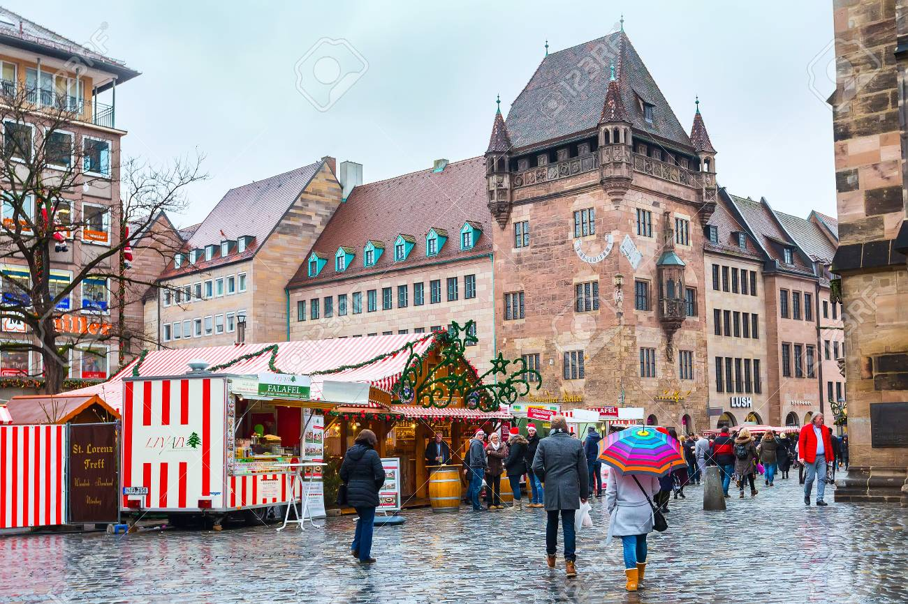 Nuremberg, Germany - December 24, 2016: Christmas Market With ...