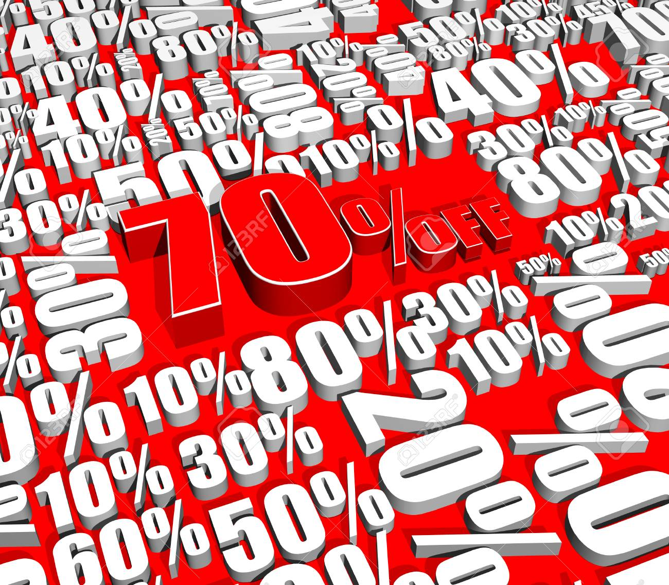 Sale 70% Off on various percentages Stock Photo - 26012023