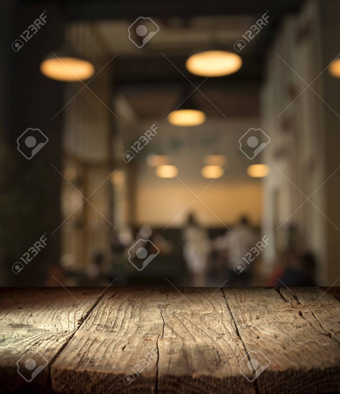 blurred background of bar and dark brown desk space of retro wood - 128328752