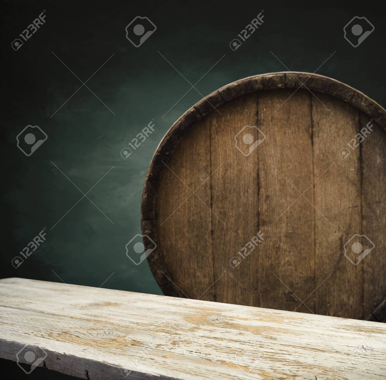 Wooden Barrel On A Table And Textured Background Stock Photo Picture And Royalty Free Image Image 140180611