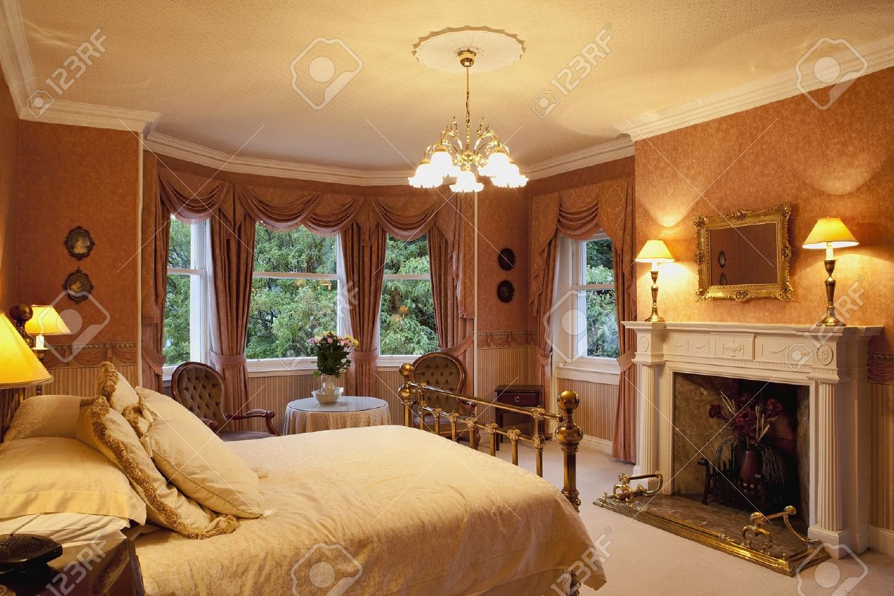 Victorian Bedroom Luxury Victorian Bedroom With A Fireplace Stock Photo Picture And