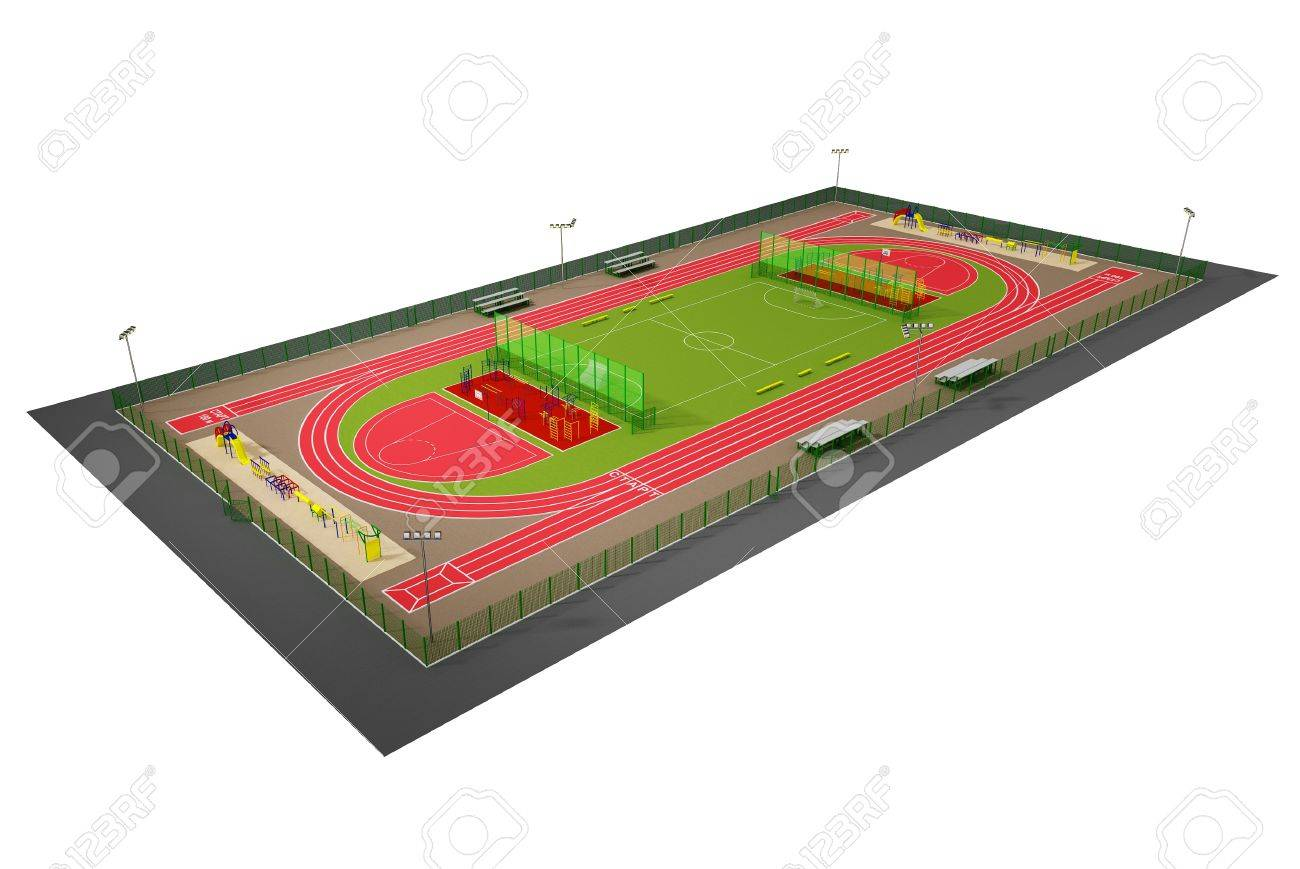 Sport field 3D model isolated on white Stock Photo - 14843384