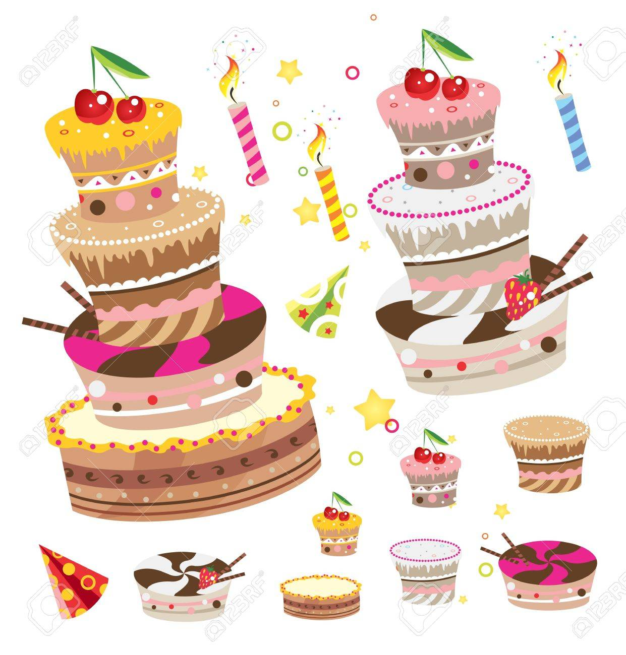 Birthday Pies And Cakes Design Elements Set Stock Vector