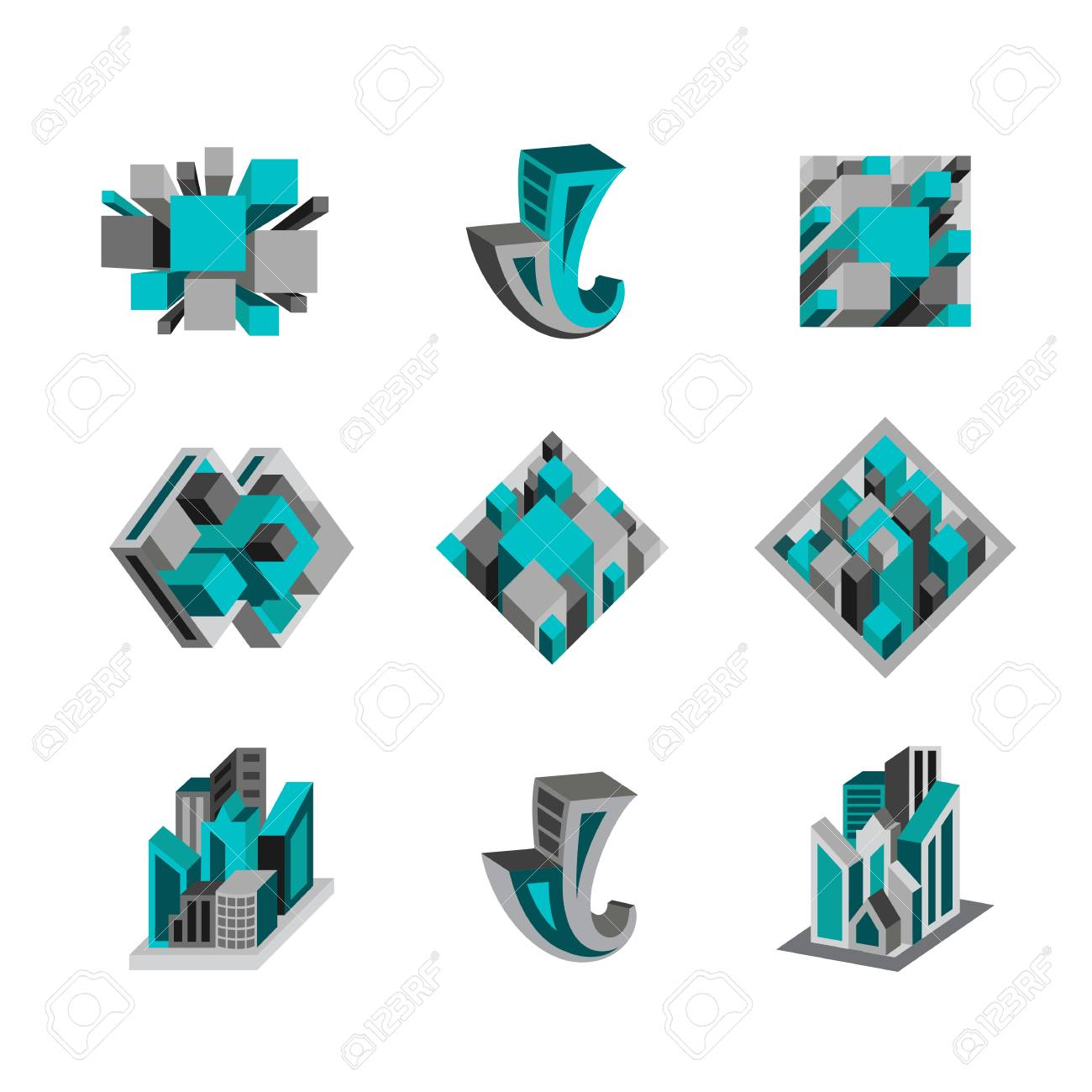 Set of abstract 3d logos for business Stock Vector - 29834937