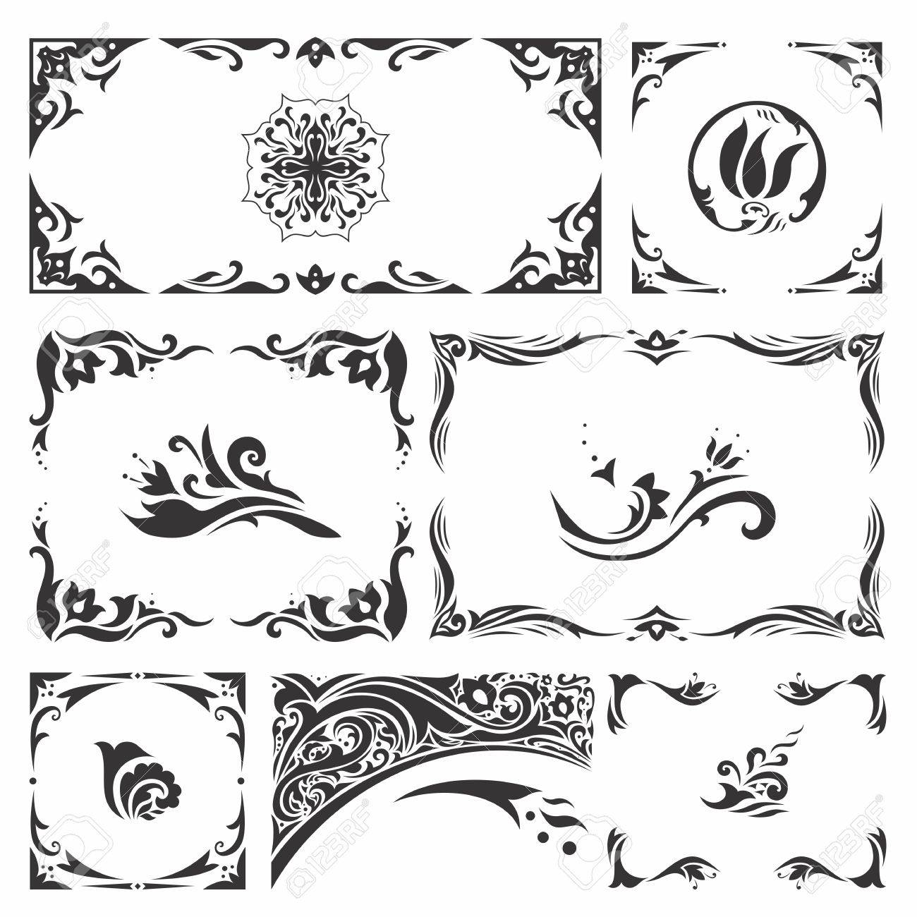 Set Of Elegant Islamic Vignettes And Borders For Design, Cards, Invitations  Stock Vector