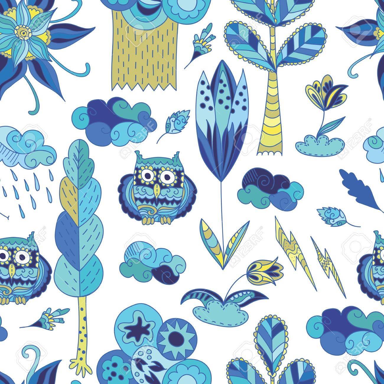 布と紙のデザインで木のフクロウ花雲子供イラスト ロイヤリティフリー