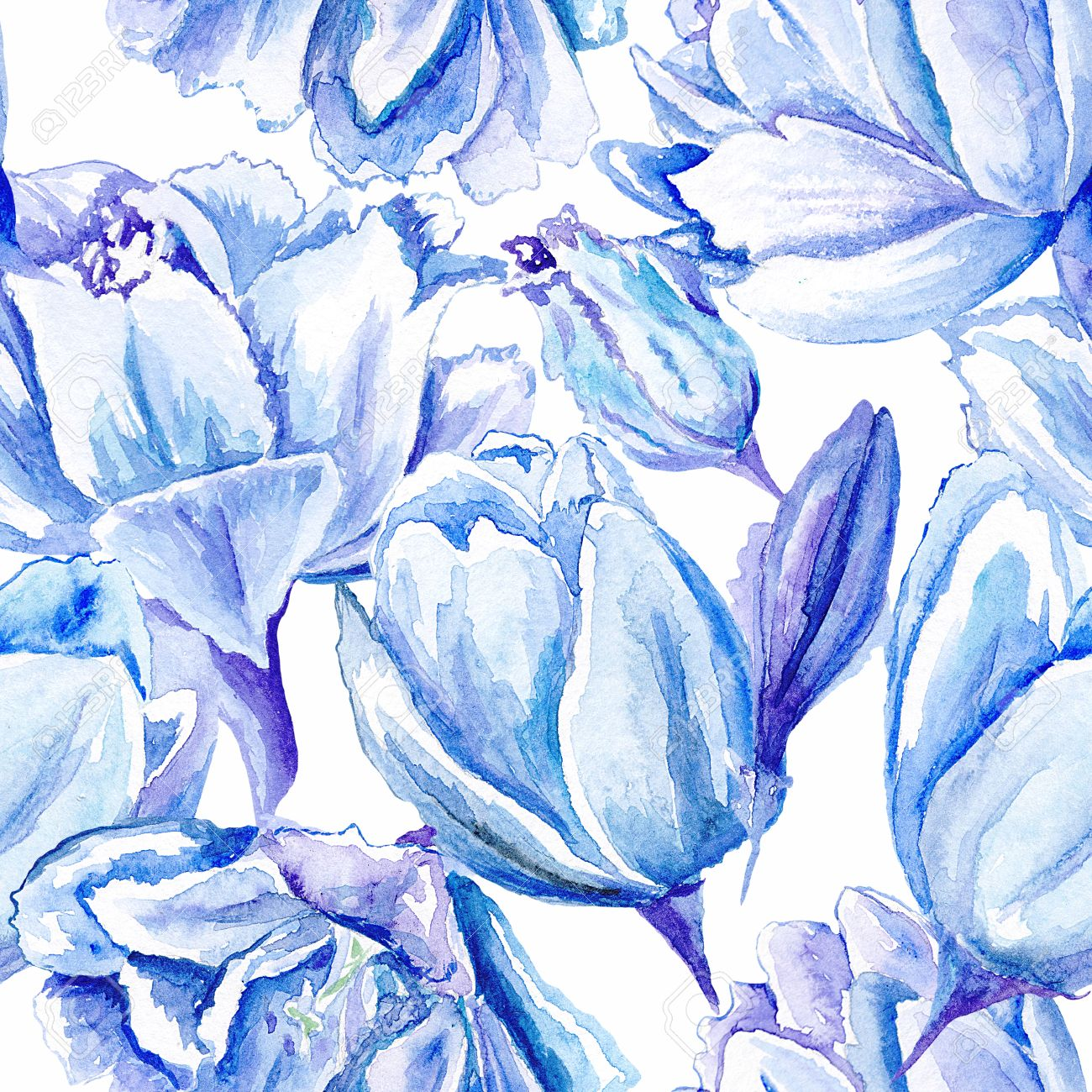 Seamless Passion Floral Background With Indigo Flowers For Bedroom Textile And Wallpaper Design Wedding Cards