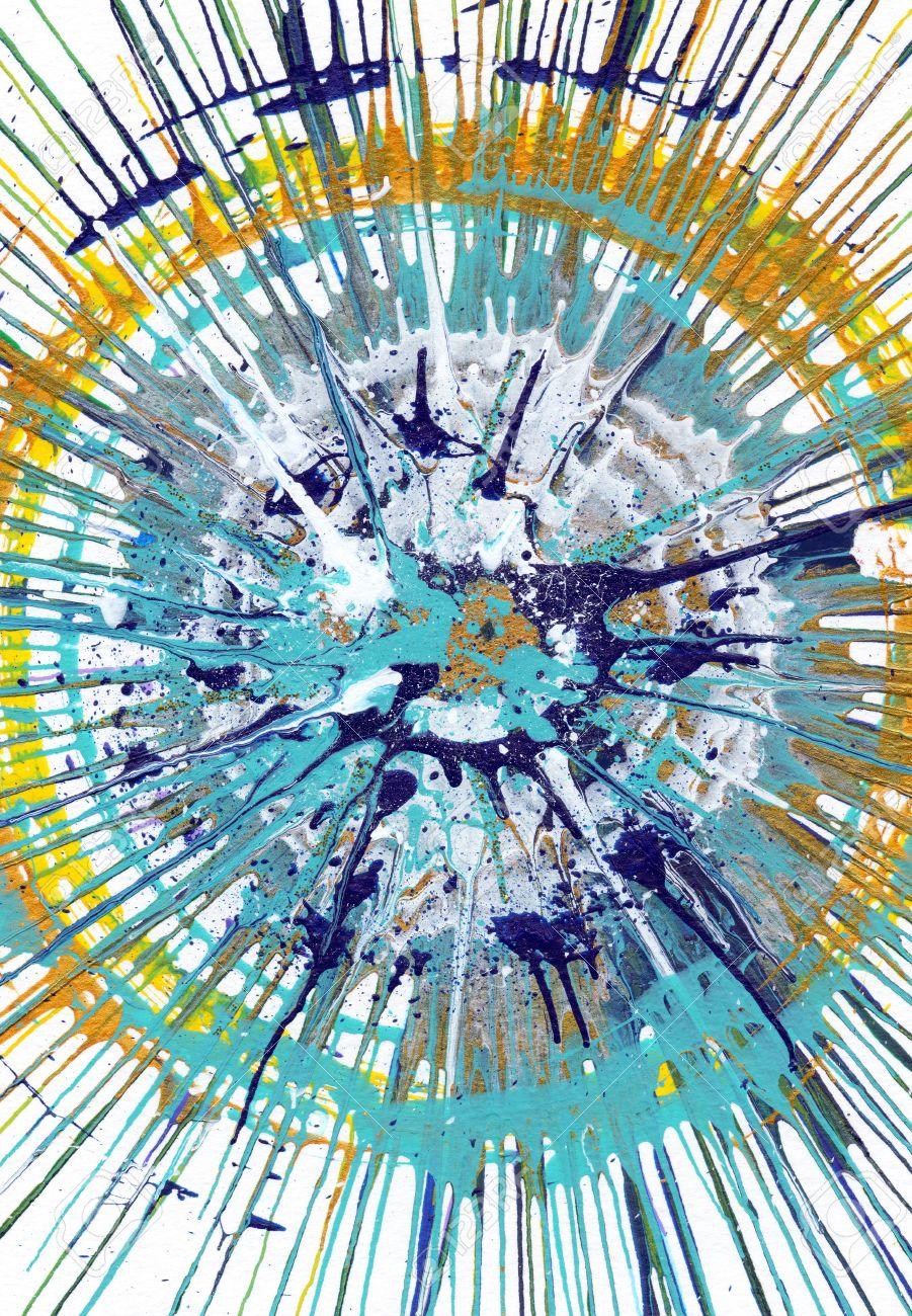 Bunte Zeitgenössische Kunstacryl Blob Zeichnung Jackson Pollock Stil ...
