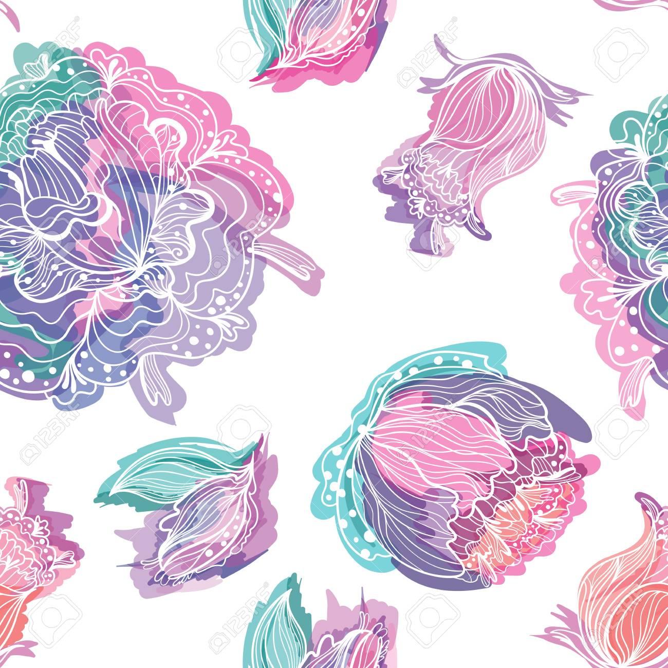 Romantische Pastell Nahtlose Hintergrund Mit Doodle Sketch Blumen