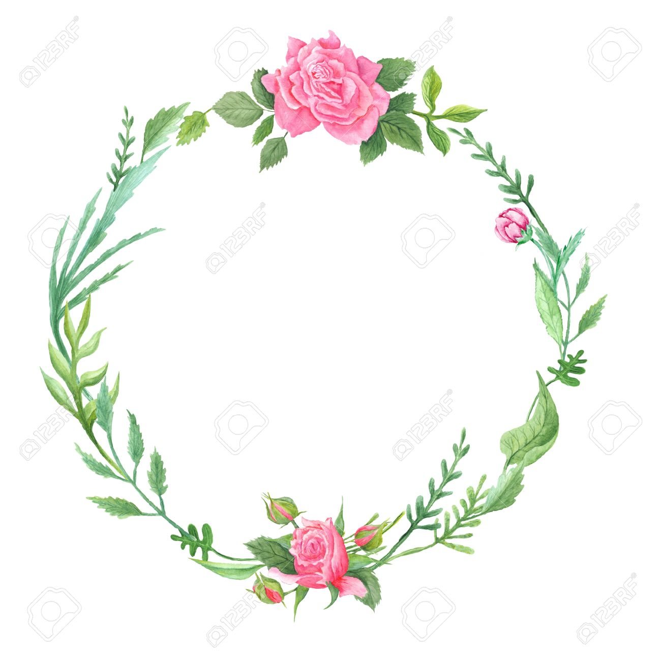 Hand-painted shabby chic natural eco frame with leaves and pink flowers for wedding invitations, event cards, photos isolated on white background - 43128239