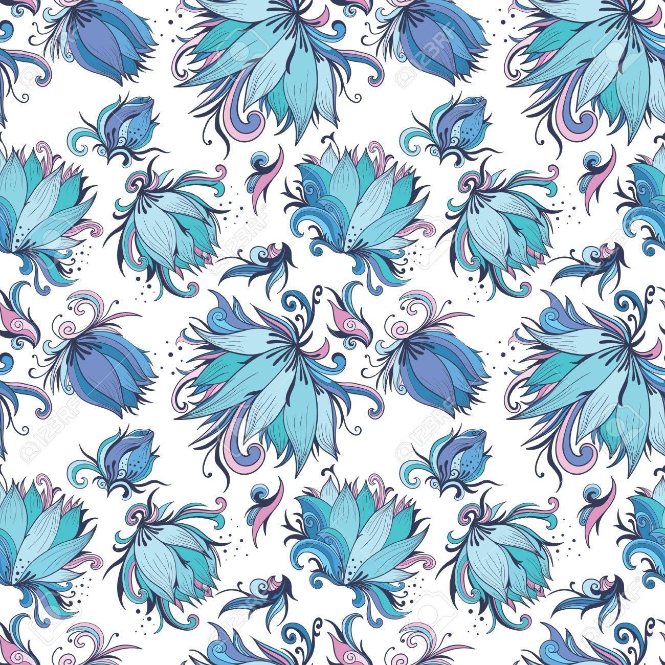 Vector De Fondo Sin Fisuras Con Flores De Lirio Azul Celeste Romantica
