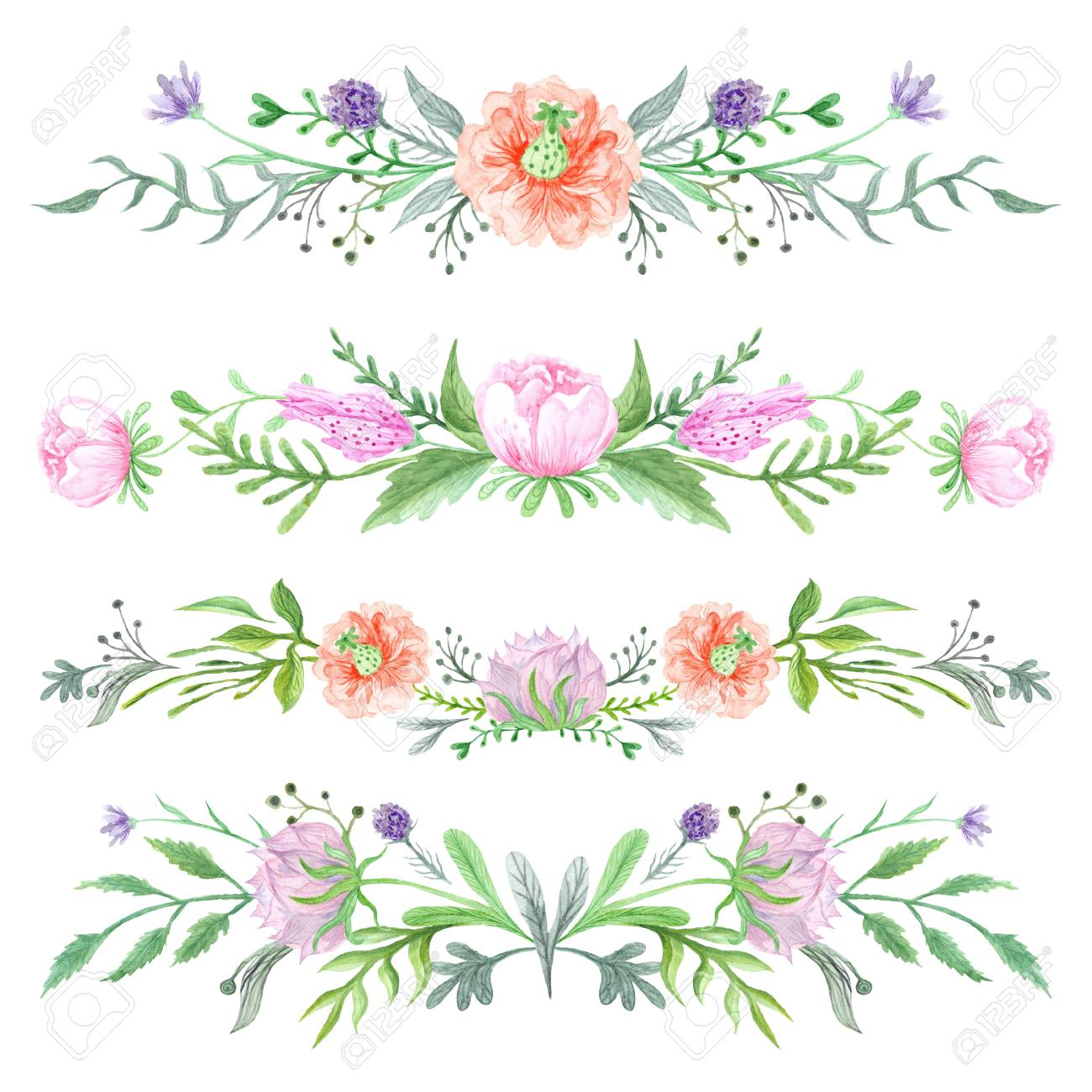 Romantic Elegant Borders With Wild Herbs And Meadow Flowers For Card,  Invitation, Wedding Design