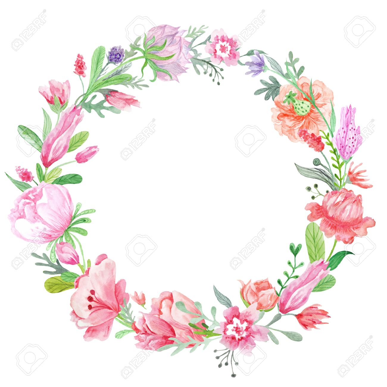 Frühling Kreative Runden Rahmen Mit Wilden Roten, Rosa Und Lila ...
