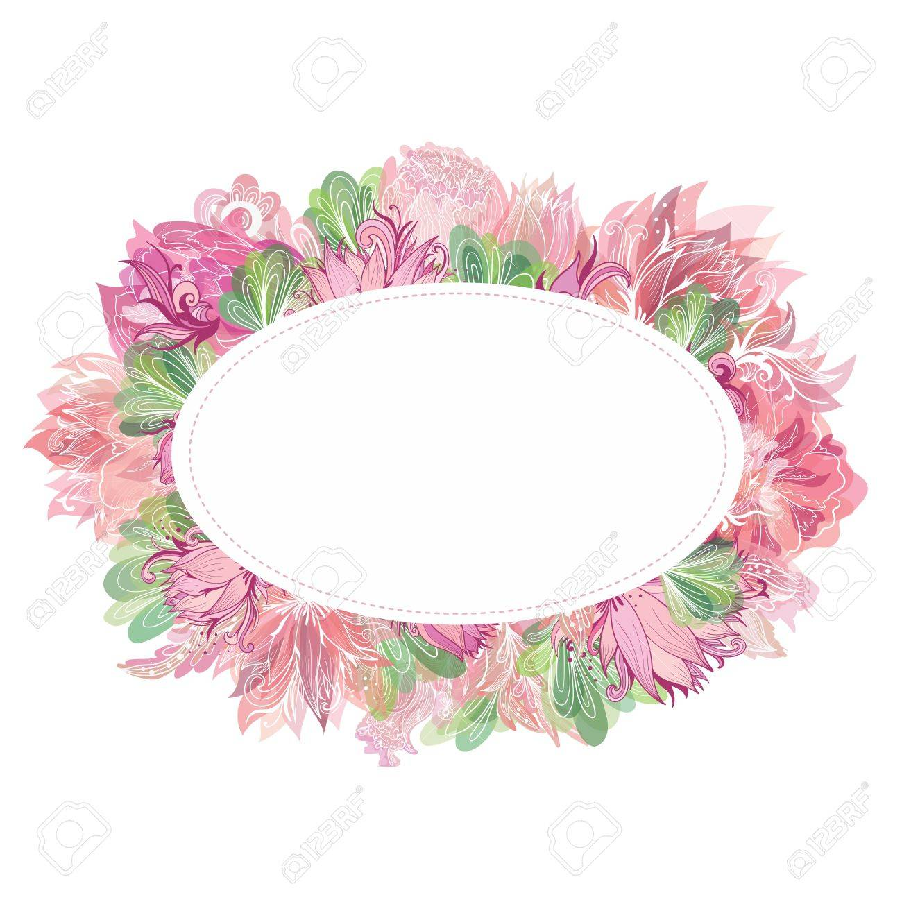 Beautiful Card Template With Shabby Chic Peony Lily And Lotus Flowers Watercolor Transparent Effect