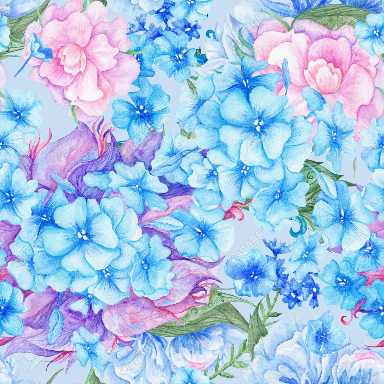 結婚式 壁紙 テキスタイル デザイン青とピンクの紫陽花と牡丹の水彩