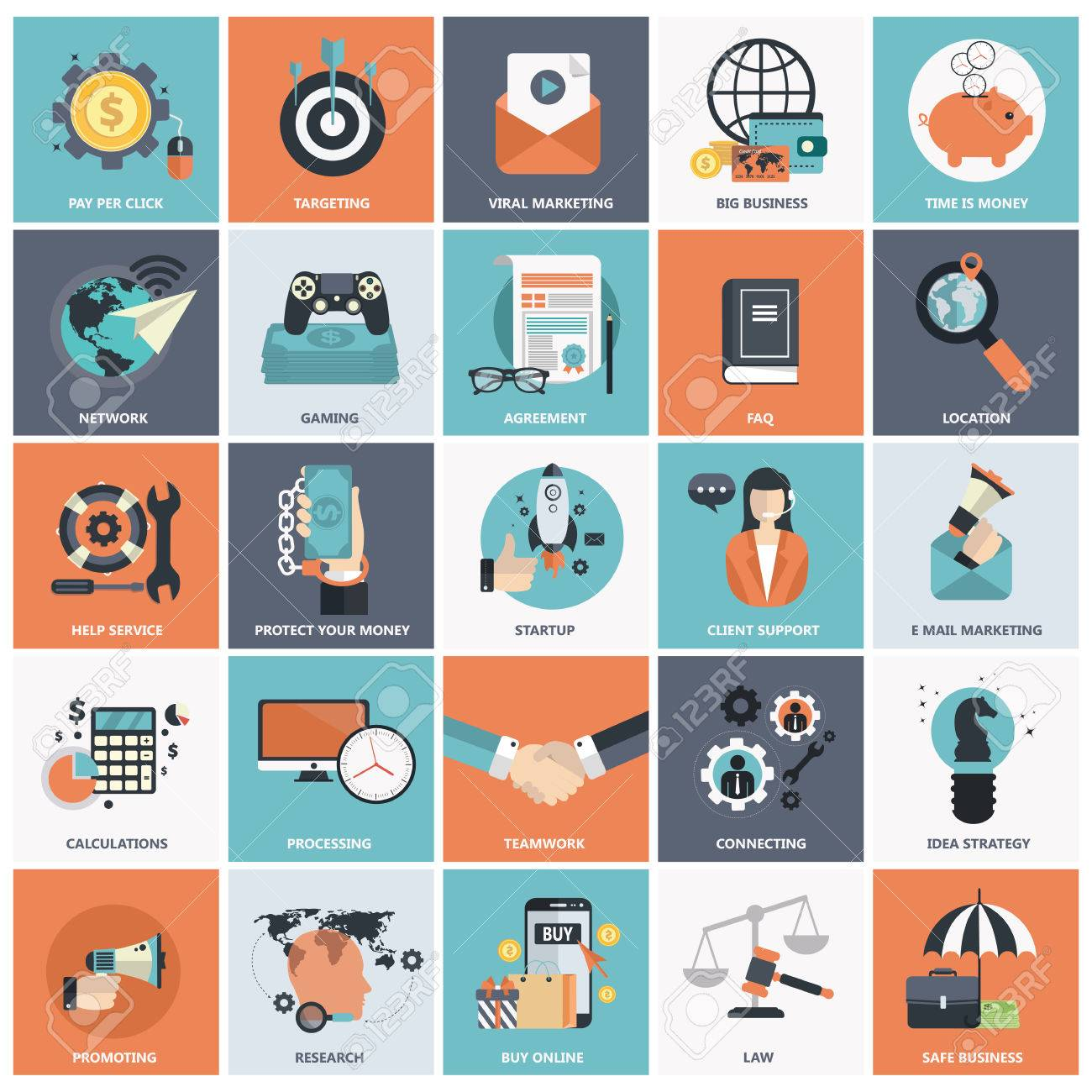 Set Of Flat Design Icons For Business Pay Per Click Creative