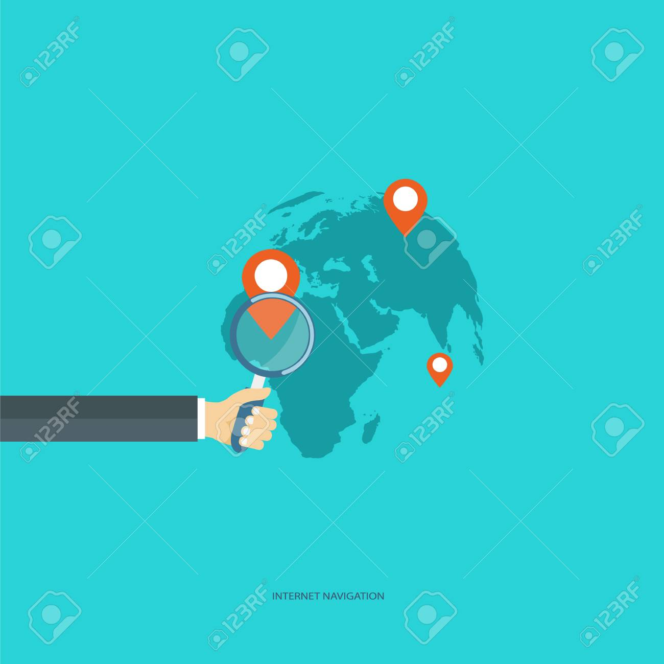 Internet navigation concept  Hand holding magnifying glass, world