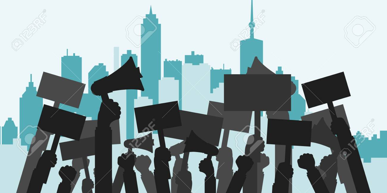 Concept for protest, revolution or conflict. Silhouette crowd of people protesters. Flat vector illustration. - 90169903
