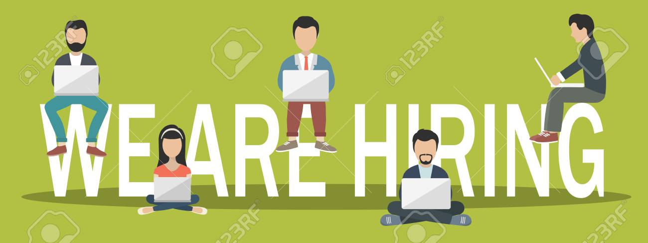 We are hiring concept. Job opportunity banner. Young people sitting on big letters. Flat vector illustration - 90421803