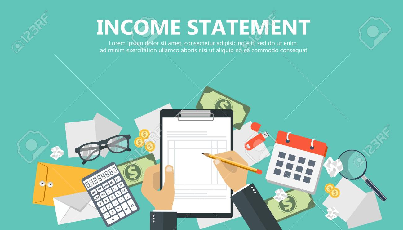 Invoice. Financial calculations. Working process. Businessman hands, calculator, financial reports, money, coins, pen. Top view. Vector illustration in flat design on green background - 90421806
