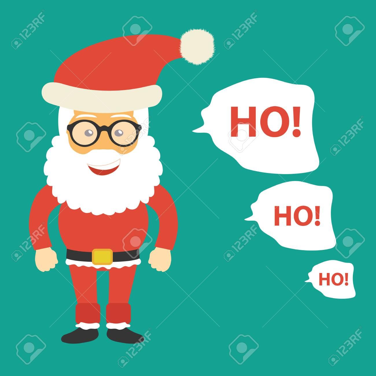 Santa Claus Icon. Ho Ho Ho Text Next To Santa. Christmas Card ...