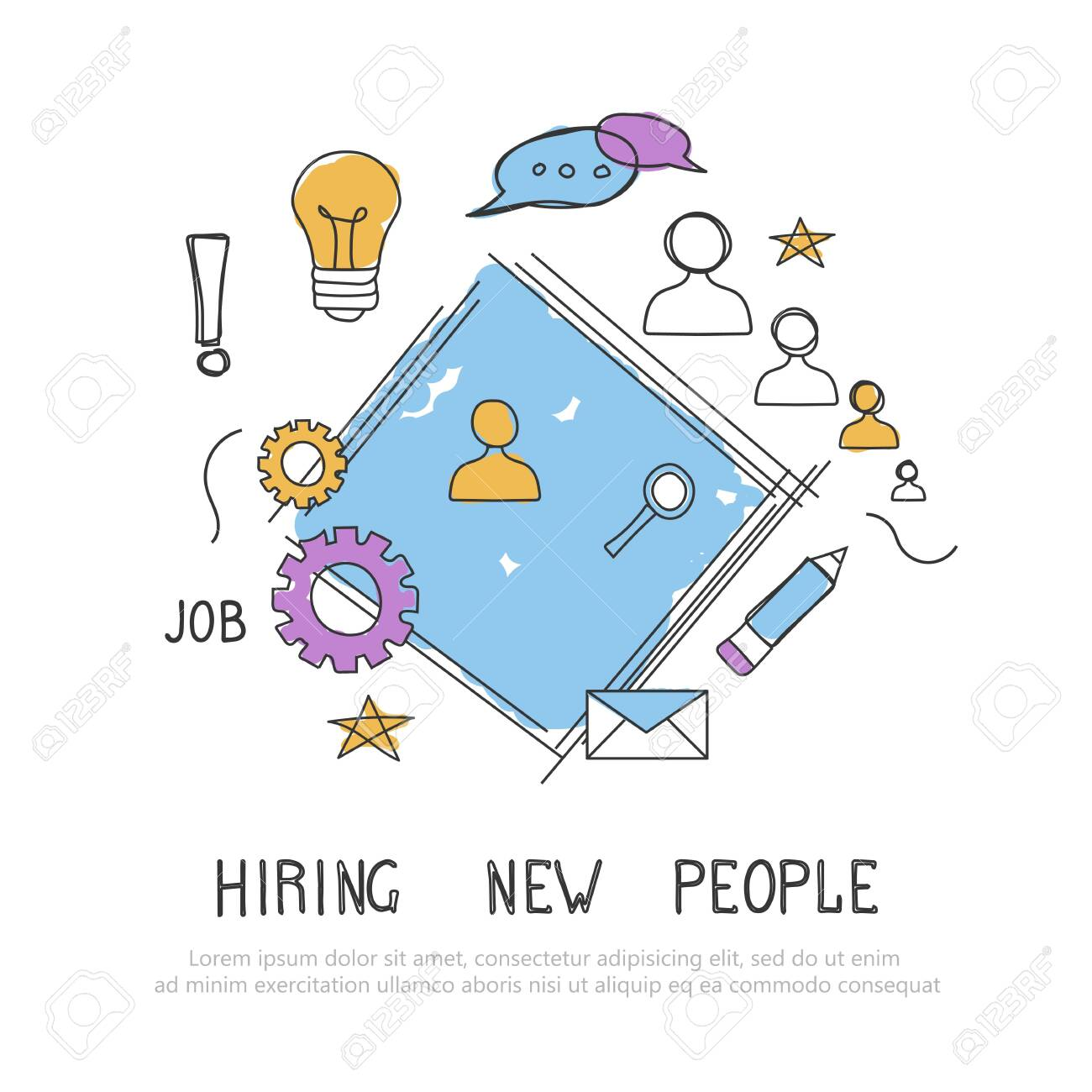 Find the right person for the job concept. Hiring and recruiting new employees. Flat vector design - 128154578
