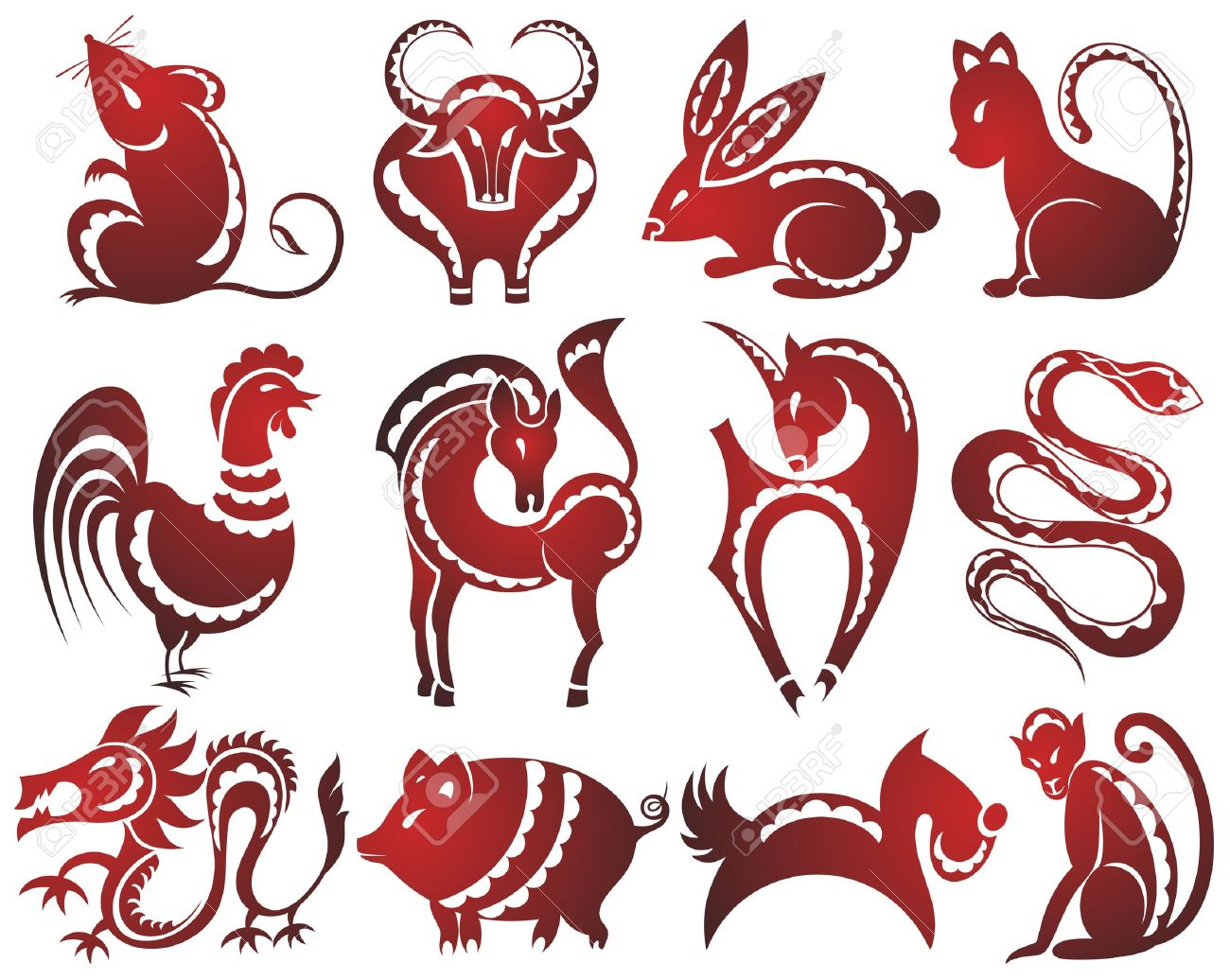 Kun Lun - (China) 34343623-12-chinese-zodiac-signs-Stock-Photo