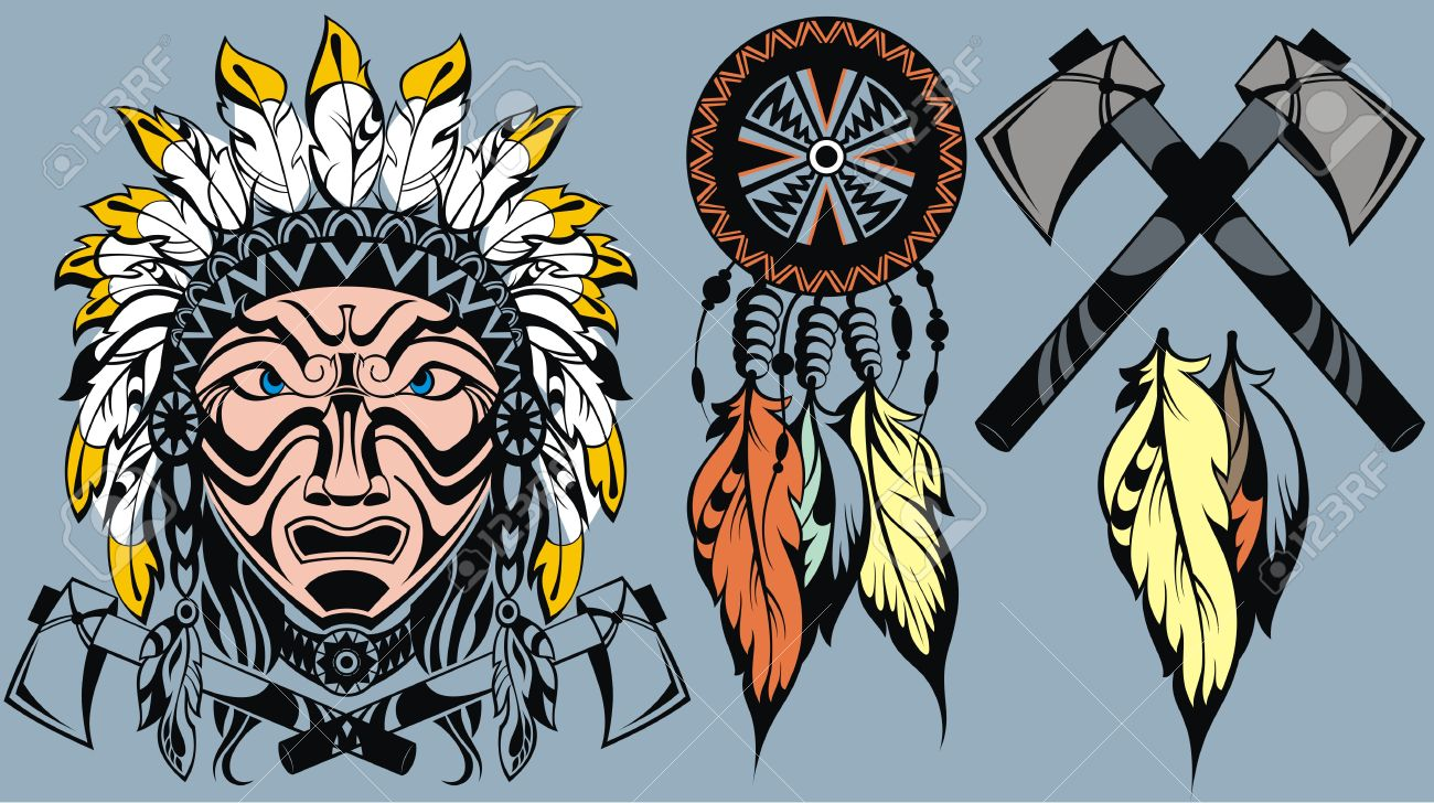 Brave American Indian Warrior Head For Mascot And Tattoo Design