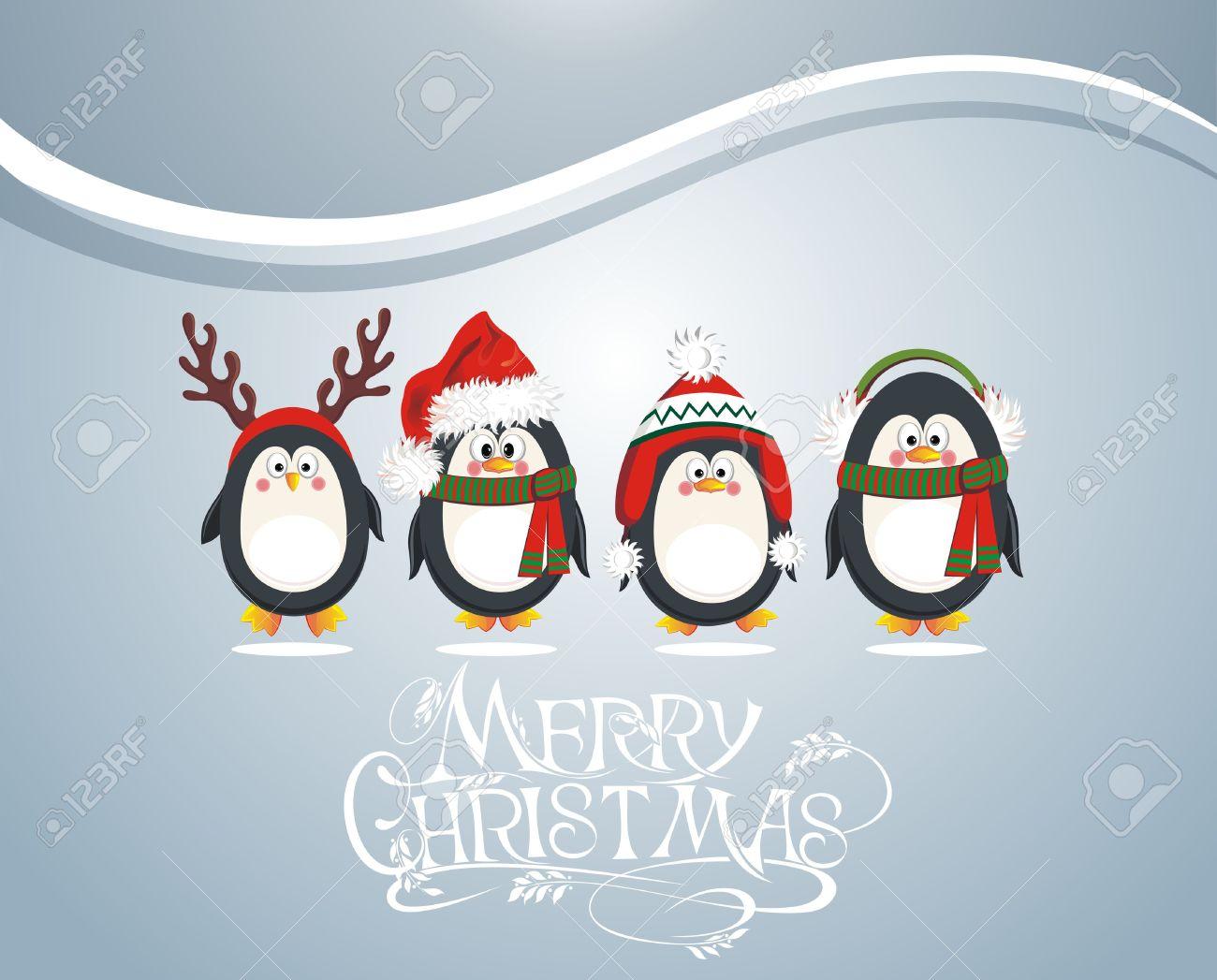 Carte De Noël Avec Des Pingouins Mignons Clip Art Libres De Droits
