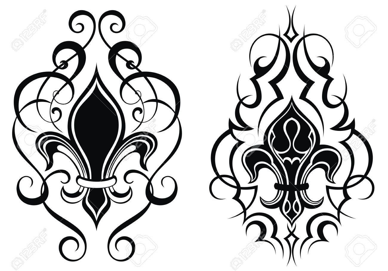 Black Royal Fleur De Lis Flowers Tattoo Royalty Free Cliparts
