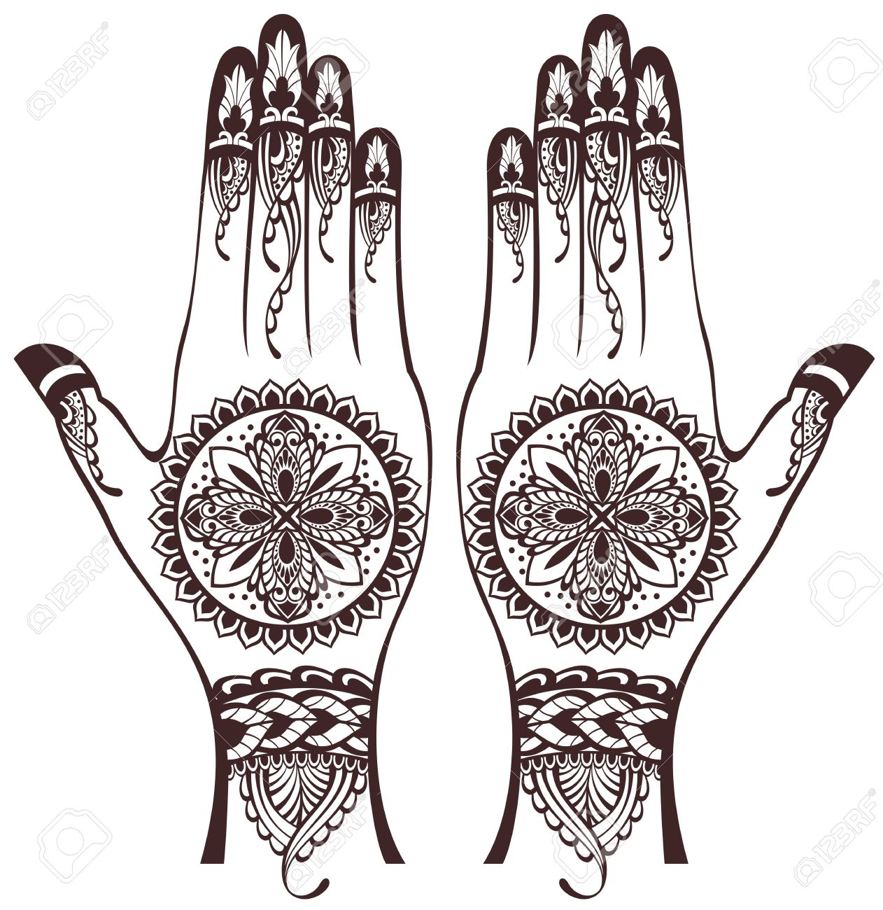 vector illustration of hands with henna tattoos royalty free rh 123rf com Adult Coloring Vector Henna Design Cards