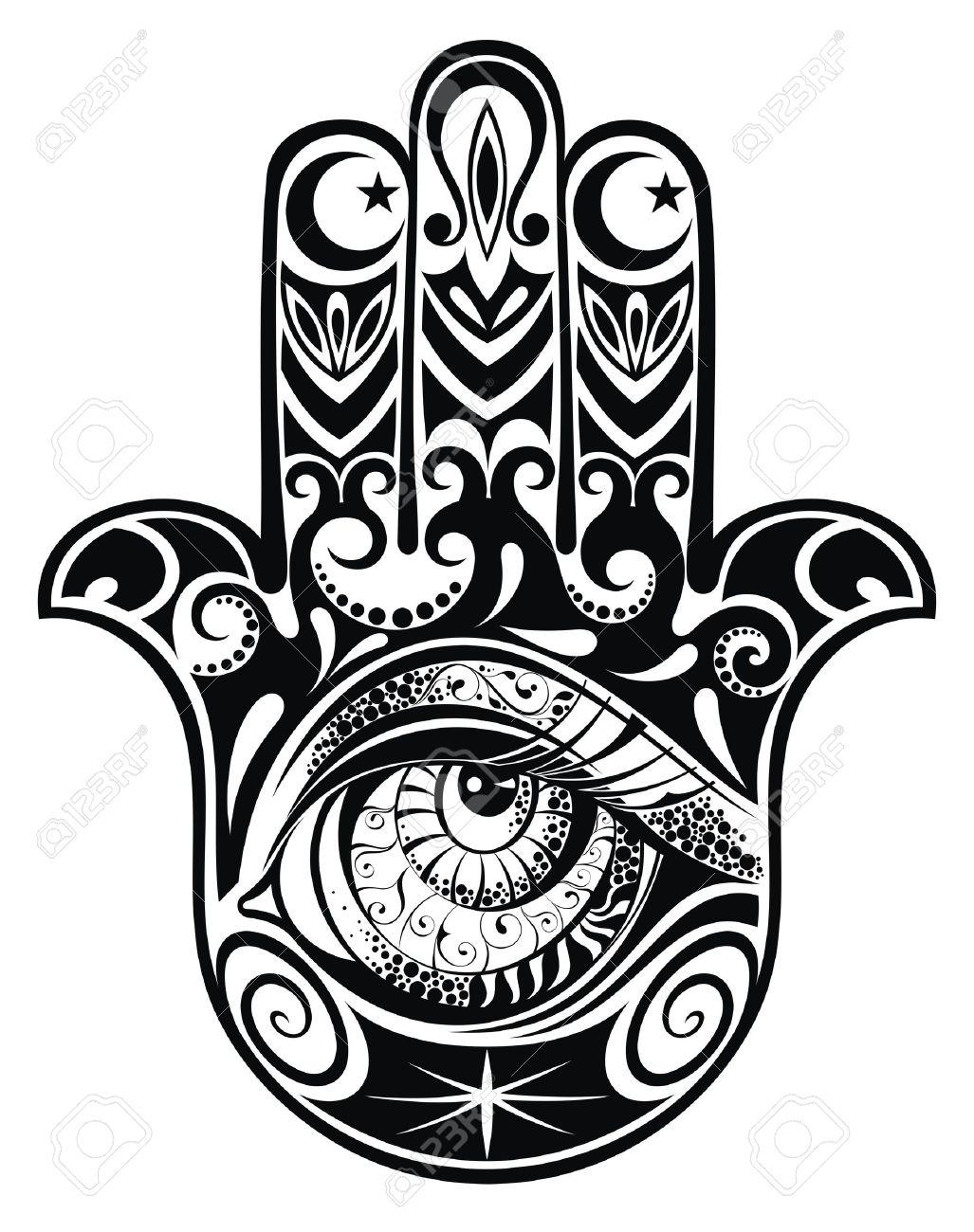 hamsa hand of fatima vector illustration royalty free cliparts