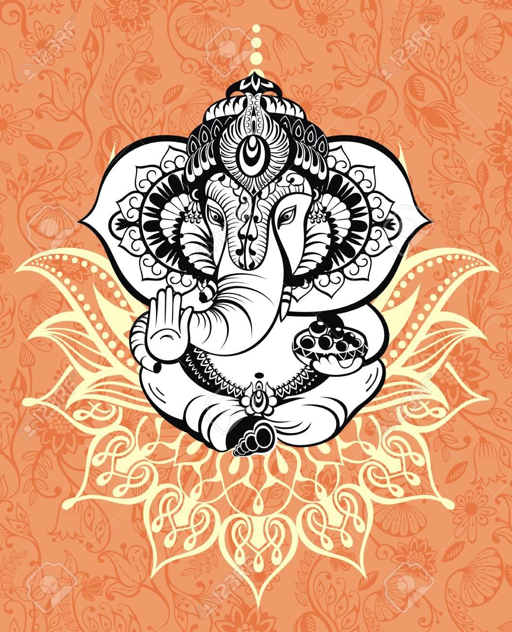 Ornament God Ganesha Invitation Cards Diwali Holiday