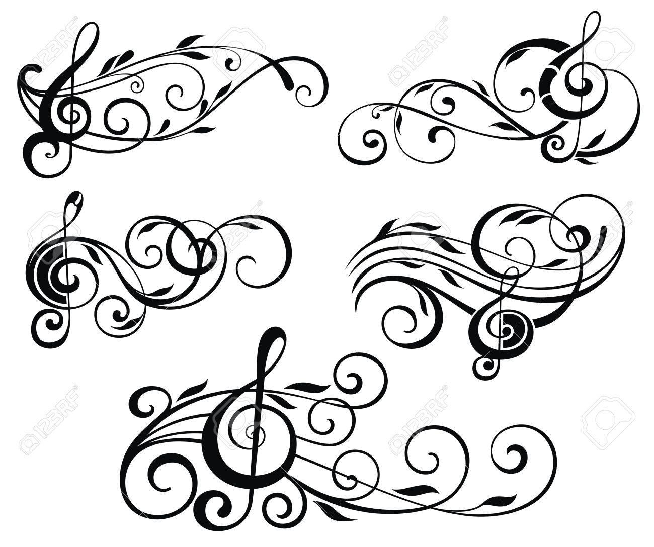 ornamental music notes with swirls on white background royalty free rh 123rf com Swirl Drawings Music Swirl