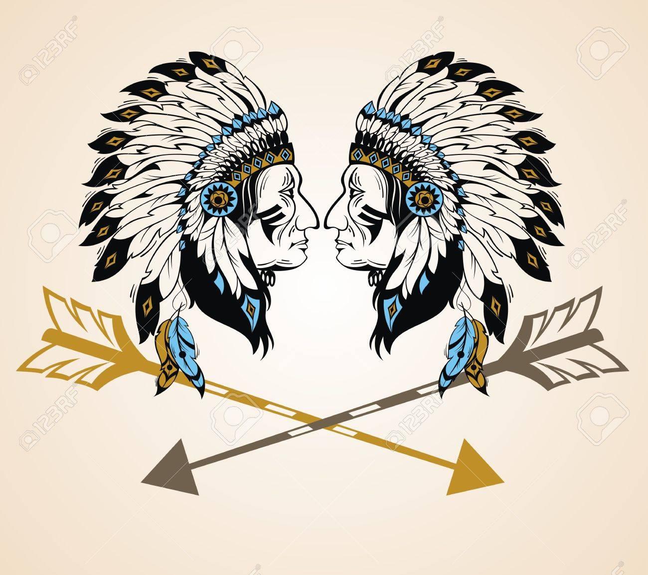 Chefs Indiens D Amérique Du Nord Avec Des Flèches