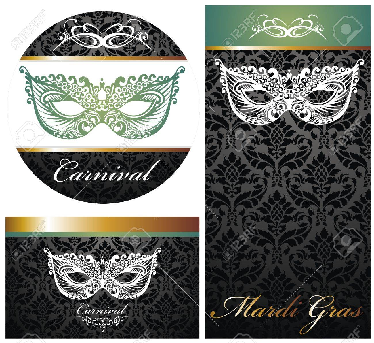Masquerade Ball Party Invitation Posters Stock Vector