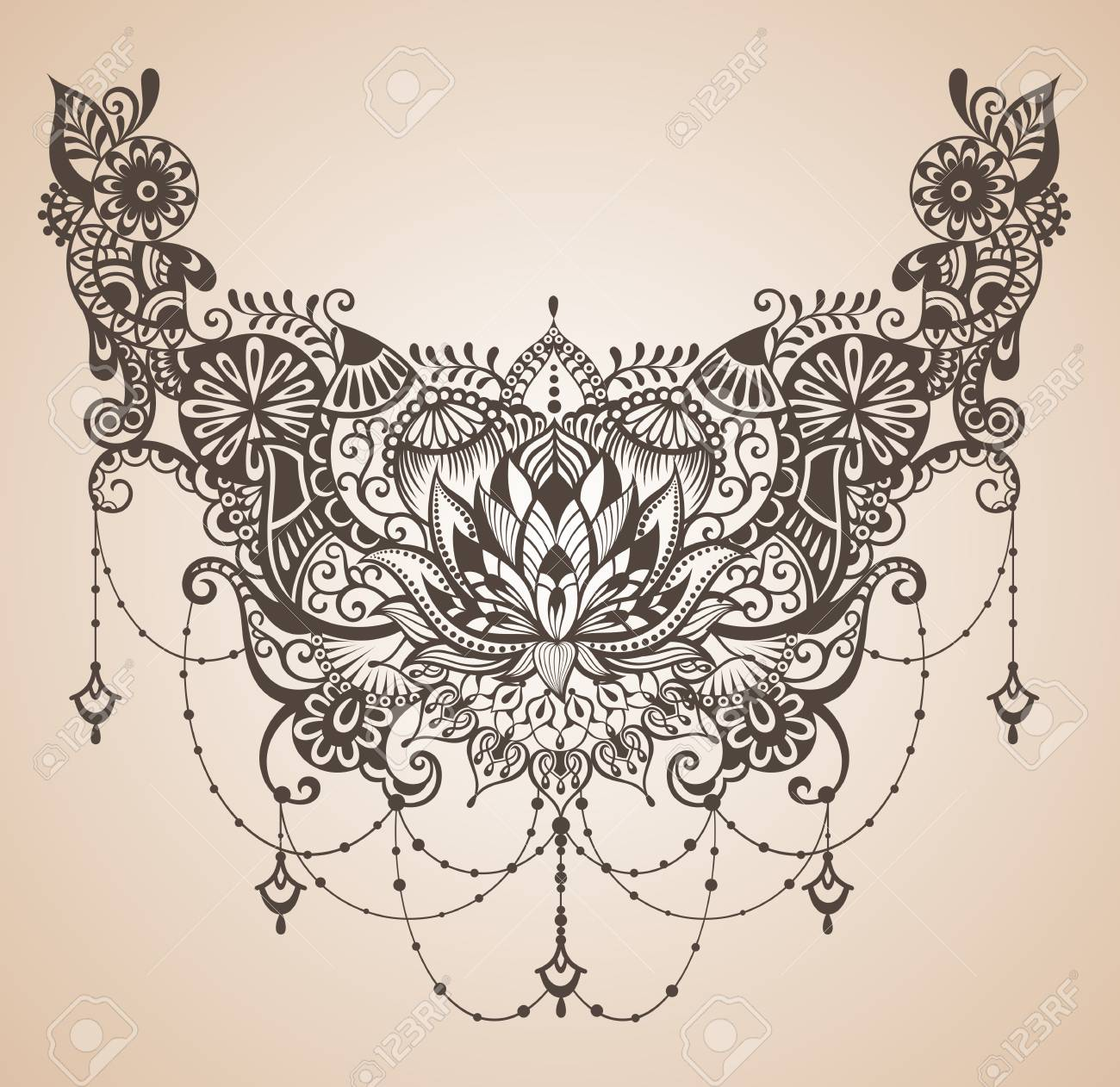 Henna Lotus Tattoo For Your Body Design Royalty Free Cliparts