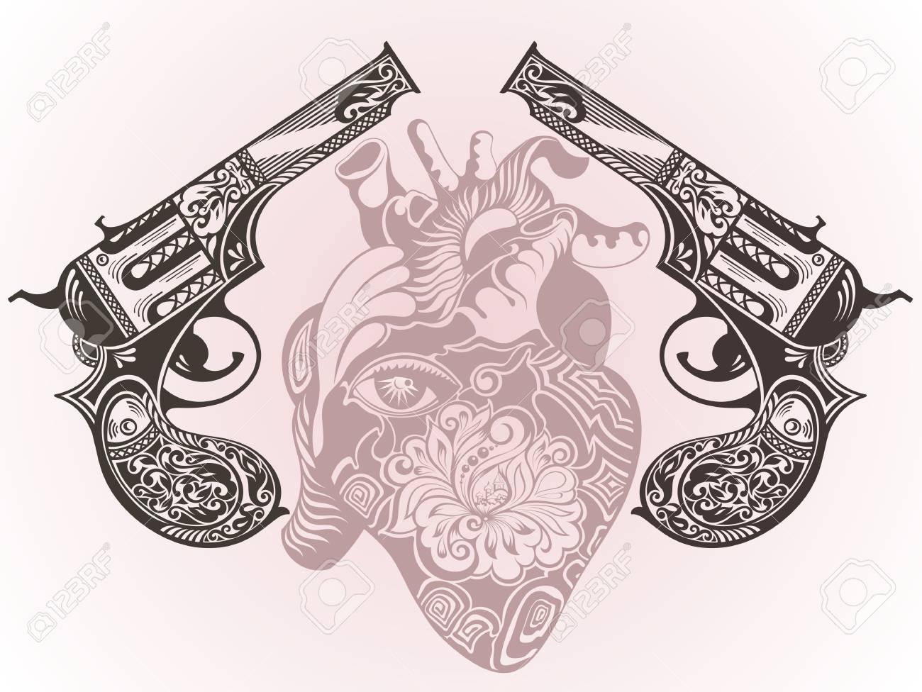 Tattoo guns with heart