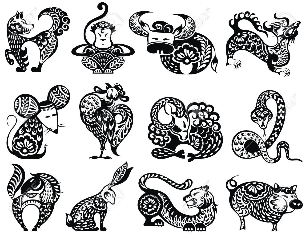 12 Chinese zodiac signs with decorative elements - 87859909