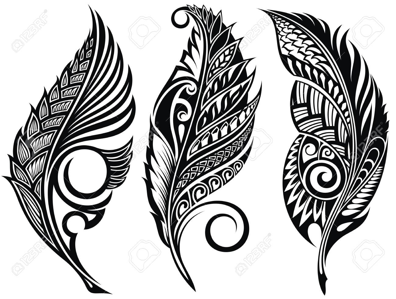 Vector Peerless Decorative Feathers, Tribal design, Tattoo - 152096483