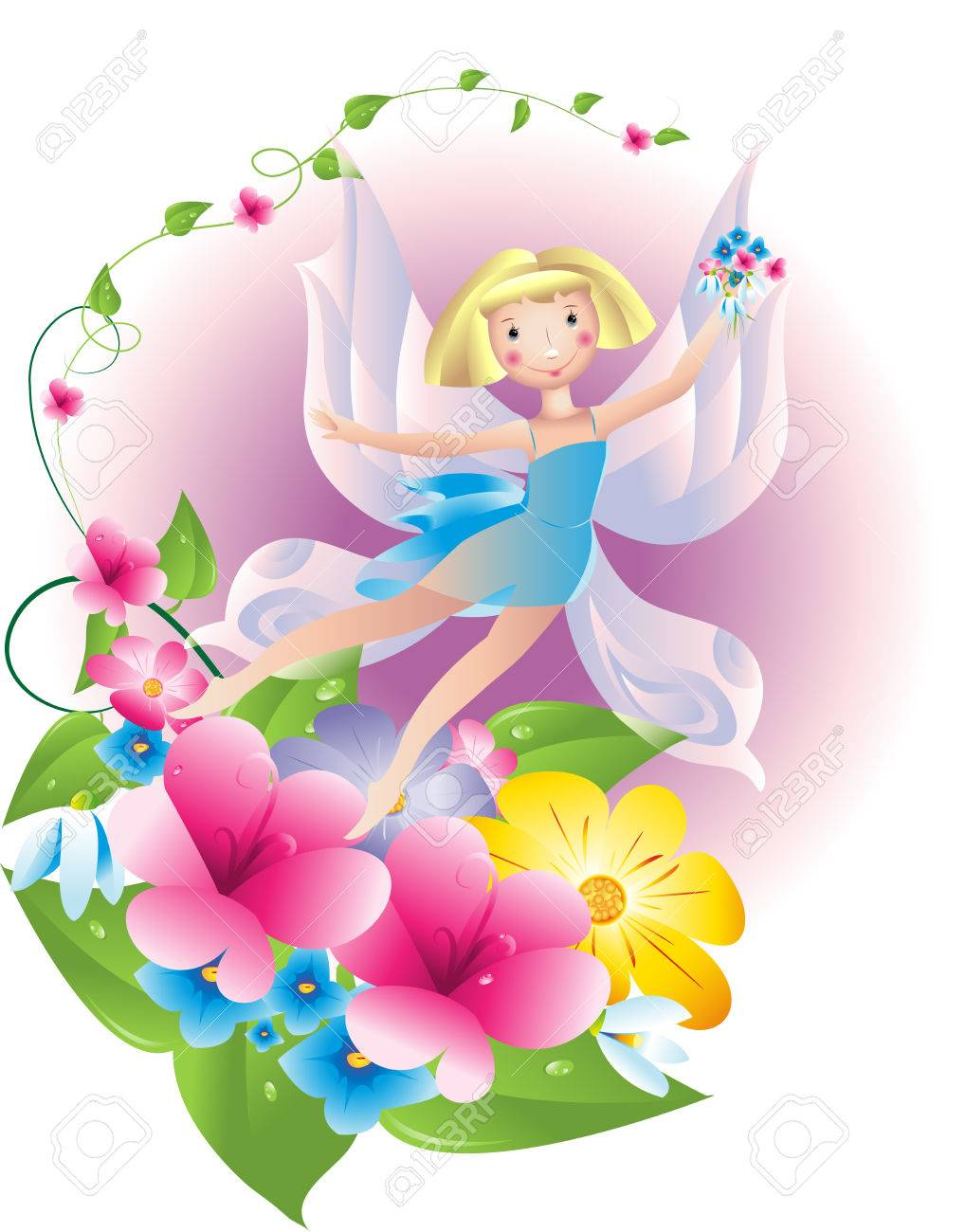 The fairy - the butterfly collecting spring flowers Stock Vector - 6424635