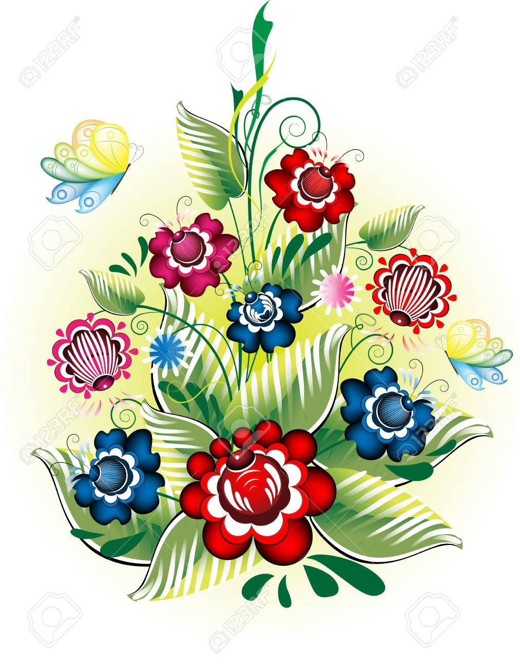 Decorative flowers in national style with butterflies on a light background Stock Vector - 6785377
