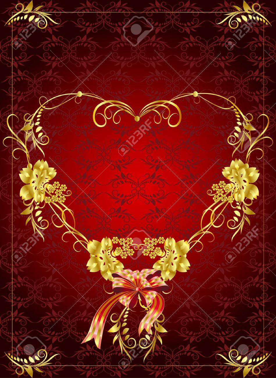 Celebratory background - a framework in the form of a heart of gold with vegetative elements on a red background Stock Vector - 8491421